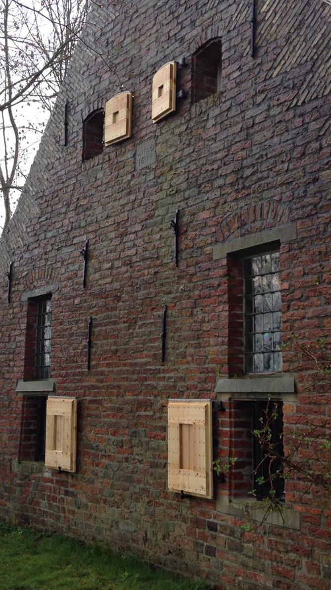 Houten luik, Siberisch Larix, aan 17de eeuws huis
